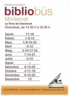 2019 Horari mensual bibliobús La Torre